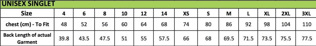 Unisex Size Chart Singlet